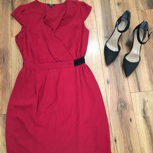 Maroon/deep red wrap style dress